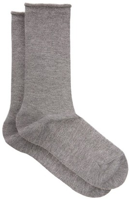 Falke Lurex Logo Intarsia Knit Socks - Womens - Grey