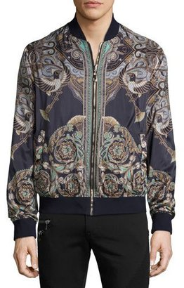 Versace Collection Baroque Reversible Bomber Jacket, Black $1,195 thestylecure.com