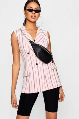 boohoo Double Breasted Sleeveless Stripe Blazer