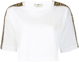 Fendi logo trim cropped T-shirt