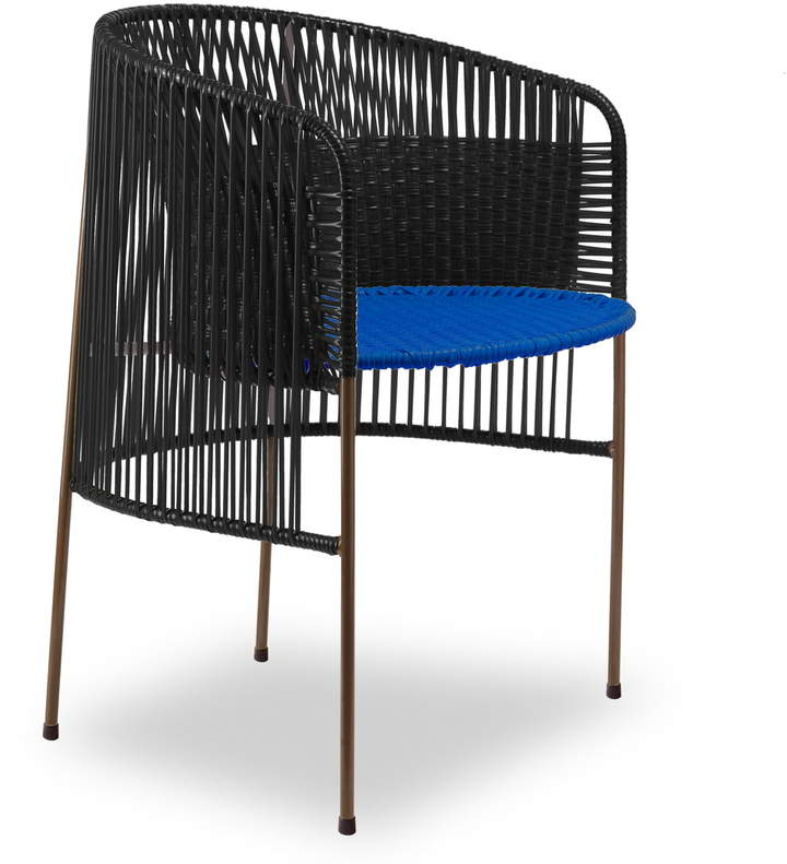 ames - caribe Dining Chair, schwarz / blau / braun