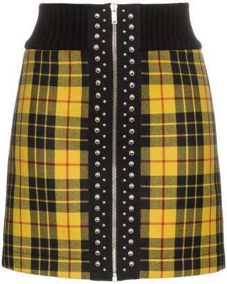 Palm Angels high waist tartan wool mini skirt