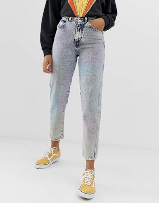 Wrangler mom jeans in rainbow stonewash