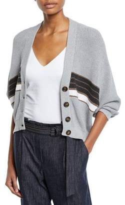 Brunello Cucinelli Monili-Striped V-Neck Cotton Cardigan