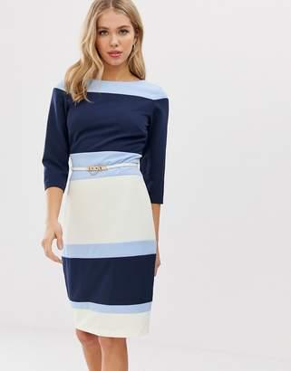 Paper Dolls color block pencil dress with belt