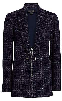 St. John Women's Graphic Boucle Knit Windowpane Jacket - Size 0
