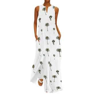 f9f886d83dadd BingYELH Dresses Womens Sleeveless Printed Casual Slit Geometric Summer  Holiday Long Maxi Dress Beachwear Turkish Kaftans