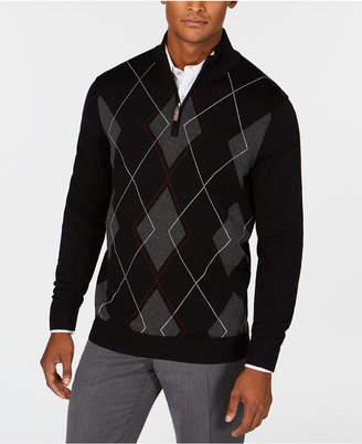 Club Room Men's Quarter-Zip Pima Argyle Sweater