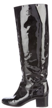Chanel Patent Leather Knee-High CC Boots