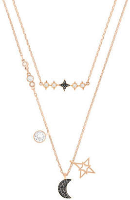 Swarovski Glowing Moon Crystal Rose Goldplated Necklace Set