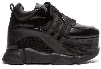 Marques Almeida Marques'almeida - Platform Leather Sneakers - Womens - Black