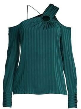 Yigal Azrouël Azrouël Women's Silk-Blend Cold Shoulder Top - Forest - Size 8