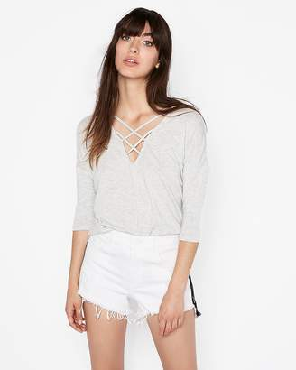Express Petite One Eleven Gray Strappy Front London Tee