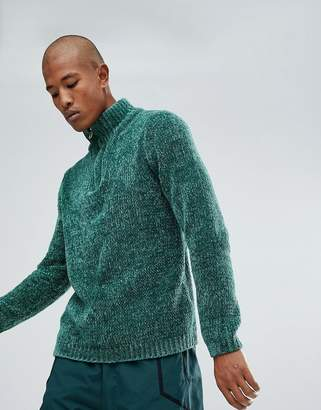 Asos DESIGN Heavyweight Chenille Half Zip Sweater In Green