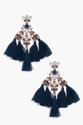 boohoo Diamante Gem Statement Tassel Earrings