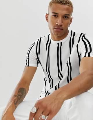 Topman t-shirt in vertical white & black stripe