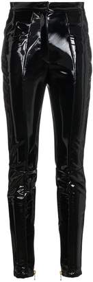 Balmain high waisted PVC trousers