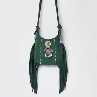 River Island Womens Green mini embellished tassel cross body bag