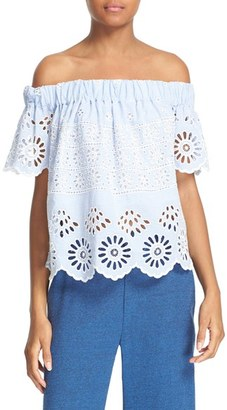 Women's Sea Eyelet Stripe Off The Shoulder Top $325 thestylecure.com