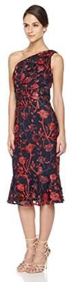Social Graces Women's One Shoulder Embroidered Floral Lace Flounce Skirt Cocktail Midi Dress 4