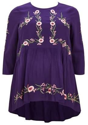 Evans Purple Embroidered Peplum Blouse