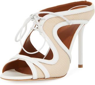 Malone Souliers Soraya Mesh/Patent Lace-Up Mule Sandals