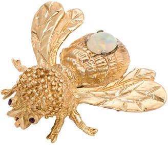 One Kings Lane Vintage 14K Opal & Garnet Bumble Bee Brooch - Precious & Rare Pieces