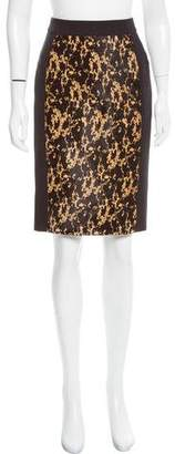 Burberry Pony Hair-Trimmed Pencil Skirt