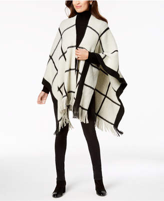 Vince Camuto Feels Like Check Fringe Poncho