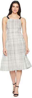 Donna Morgan Plaid Linen Drop Waist Dress with Contrast Straps Women's Dress