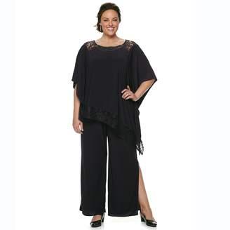 Le Bos Plus Size Asymmetrical Shawl & Pants Set