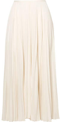 Joseph Abbot Pleated Silk Crepe De Chine Midi Skirt - Ivory