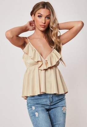 Missguided Champagne Satin Frill Plunge Cami Top