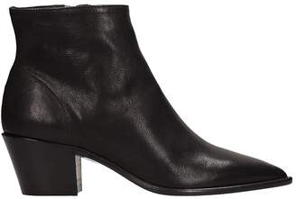 Julie Dee Black Calf Leather Ankle Boots