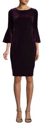 Calvin Klein Bell-Sleeve Velvet Sheath Dress