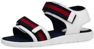 Gucci Leather Grip-Strap Sandal, Junior $225 thestylecure.com