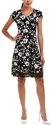 Sandra Darren Women's 1 PC Cap Sleeve Printed Large Floral Knit Fit & Flare Dress