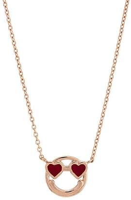 LODAGOLD Women's Smiley-Face Pendant Necklace - Gold