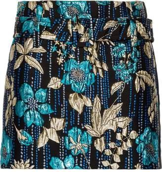 Prada Cloqué floral motif mini skirt