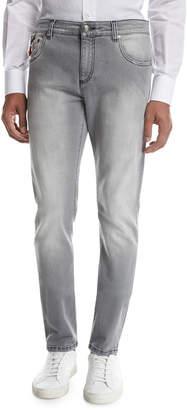 Isaia Washed Denim Slim-Straight Jeans, Light Gray