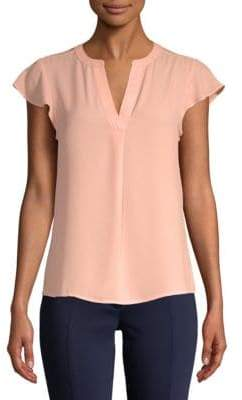 Calvin Klein Split Neck Cap-Sleeve Top