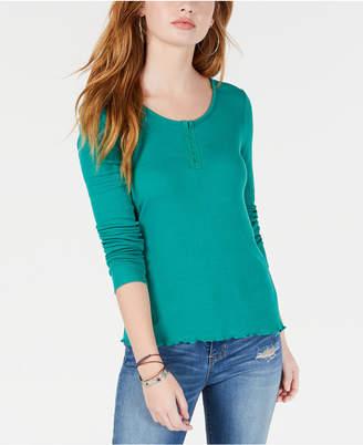 Hippie Rose Juniors' Rib-Knit Henley T-Shirt