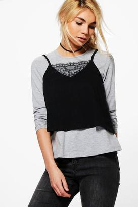 boohoo Amber 2 in 1 Lace Detail Cami Tee