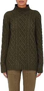 Barneys New York Women's Cashmere Cable-Knit Fisherman Sweater-Fatigue, Army