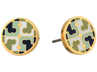 Tory Burch Multi Enamel Logo Circle-Stud Earrings
