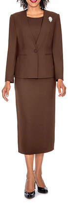 GIOVANNA SIGNATURE Giovanna Signature Women's 3-piece Microfiber Collarless Skirt Suit