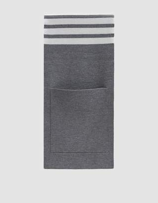 Thom Browne Milano Stitch Striped Pocket Scarf in Light Grey