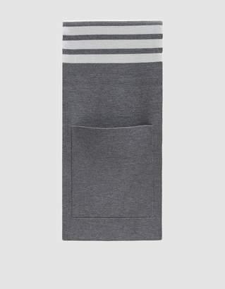Thom Browne Milano Stitch Striped Pocket Scarf in Light Grey