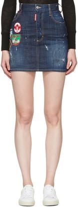 Dsquared2 Blue Patchwork Denim Miniskirt $495 thestylecure.com