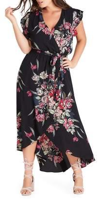 City Chic Misty Floral Wrap Maxi Dress